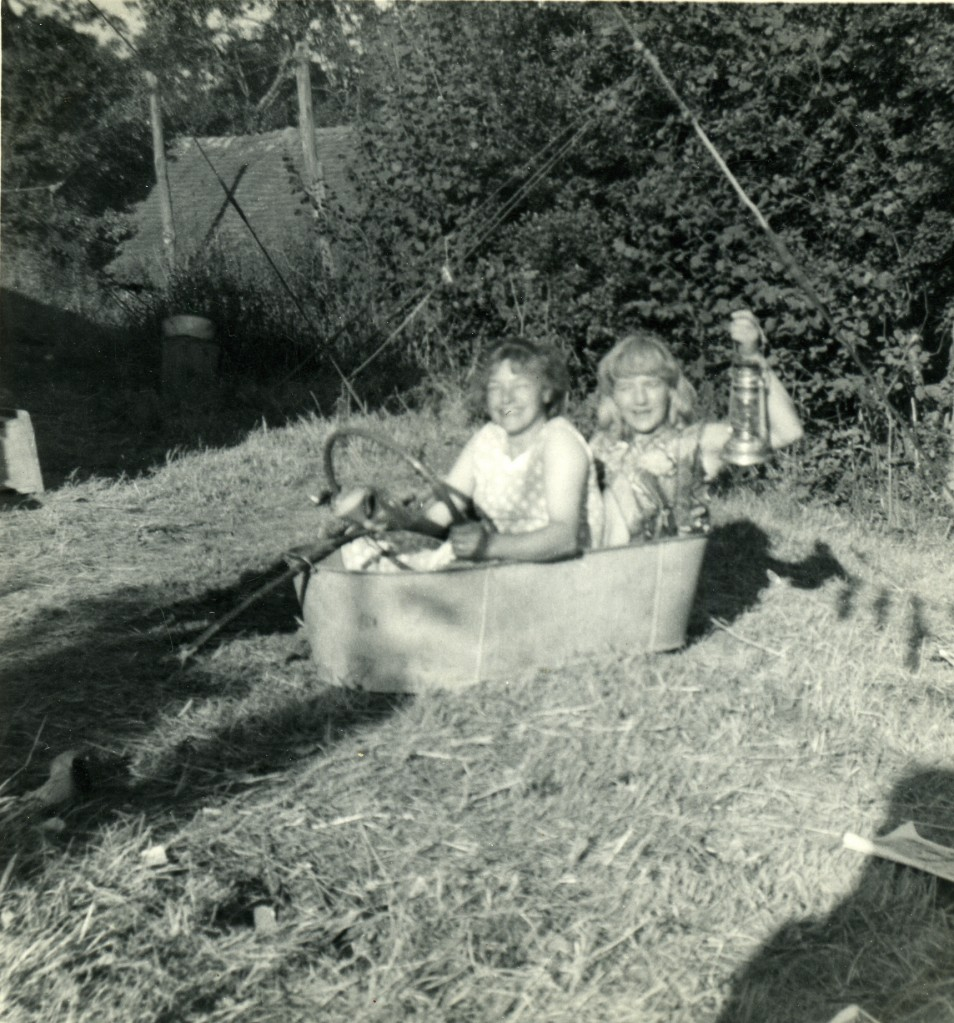 Image from Teresa Dimech & Raymond Brown's archive. Friday night in the tin bath at Spring Farm Kent.